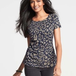 Ann Taylor Blue Animal Print Jacquard Peplum Top